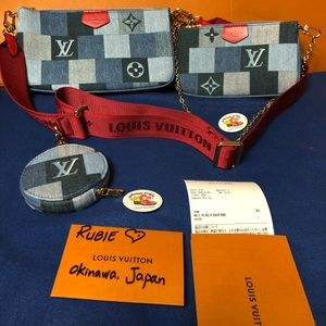 Limited Edition Multi Pouch Denim Red Strap